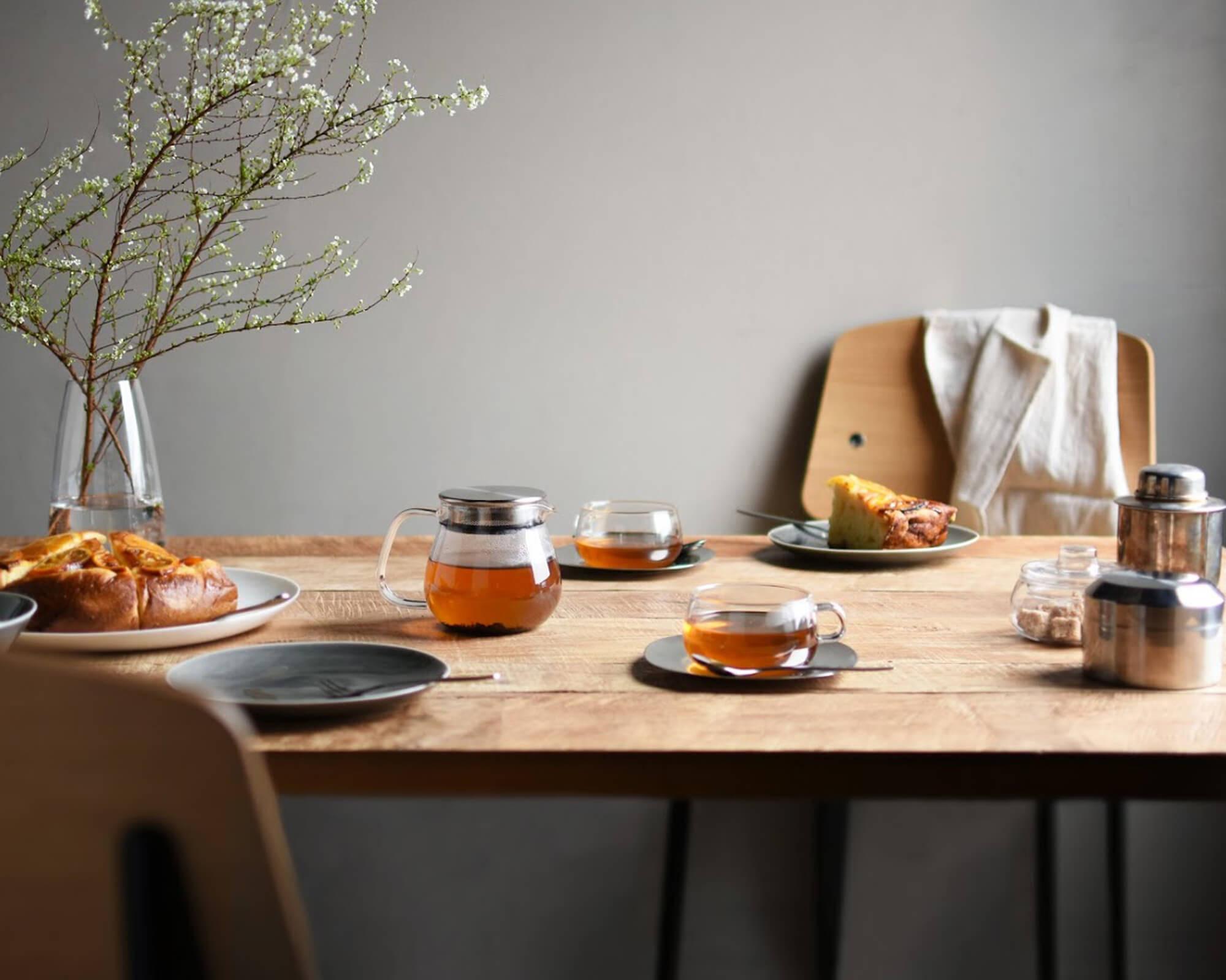 Tasse pour le thé avec coupelle Unitea de Kinto I Café Michel