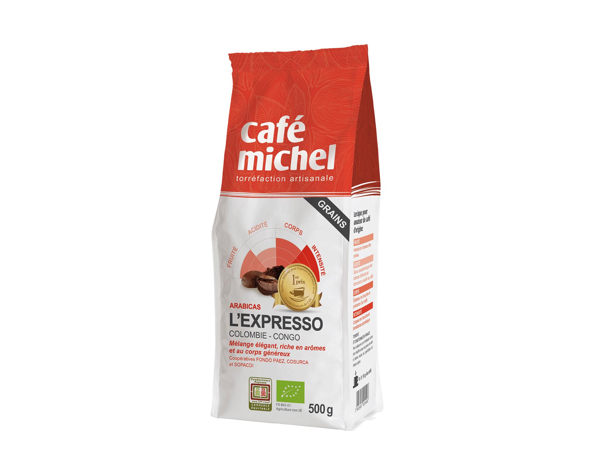 Arabica L'Expresso Grains biologique et équitable 500g I Café Michel