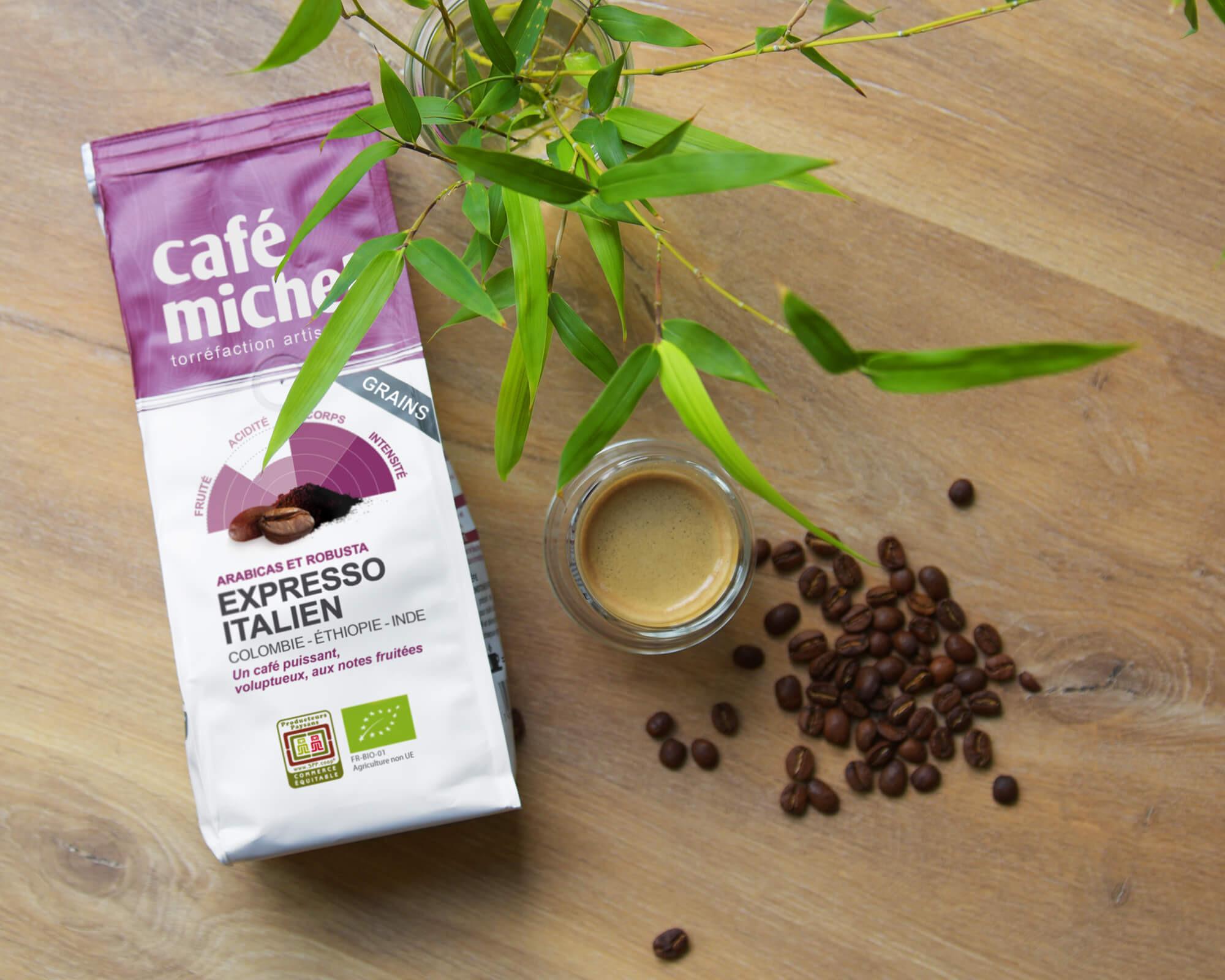 Mélange Expresso Italien en Grains biologique et équitable I Café Michel