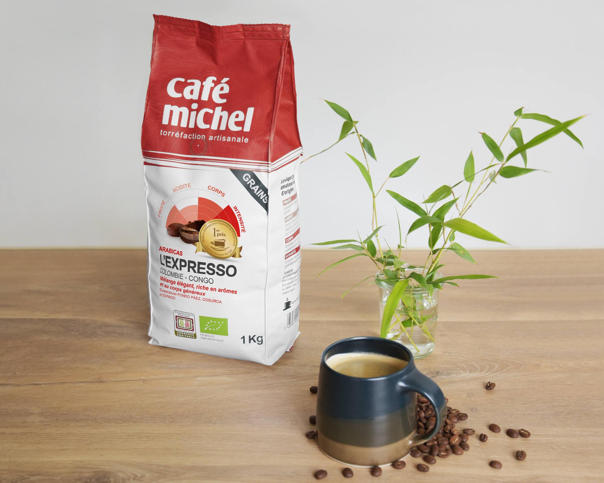Mélange arabica L'Expresso Grains biologique et équitable 1kg - Café Michel