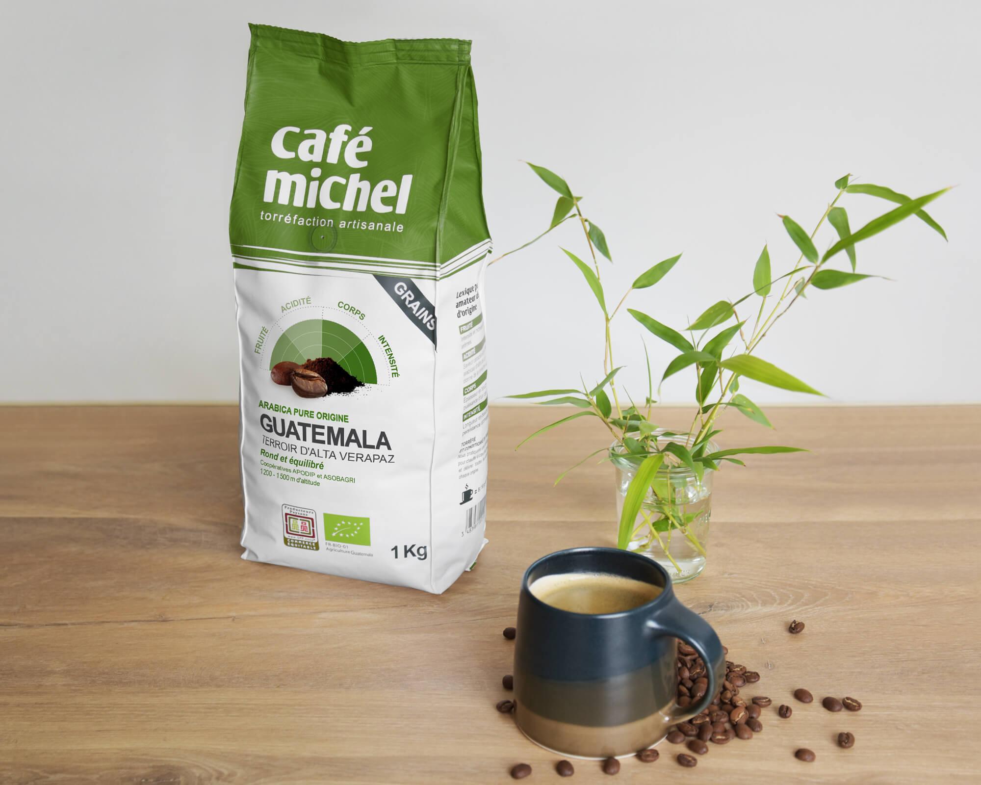 Pur arabica du Guatémala en grains biologique et équitable 1kg - Café Michel