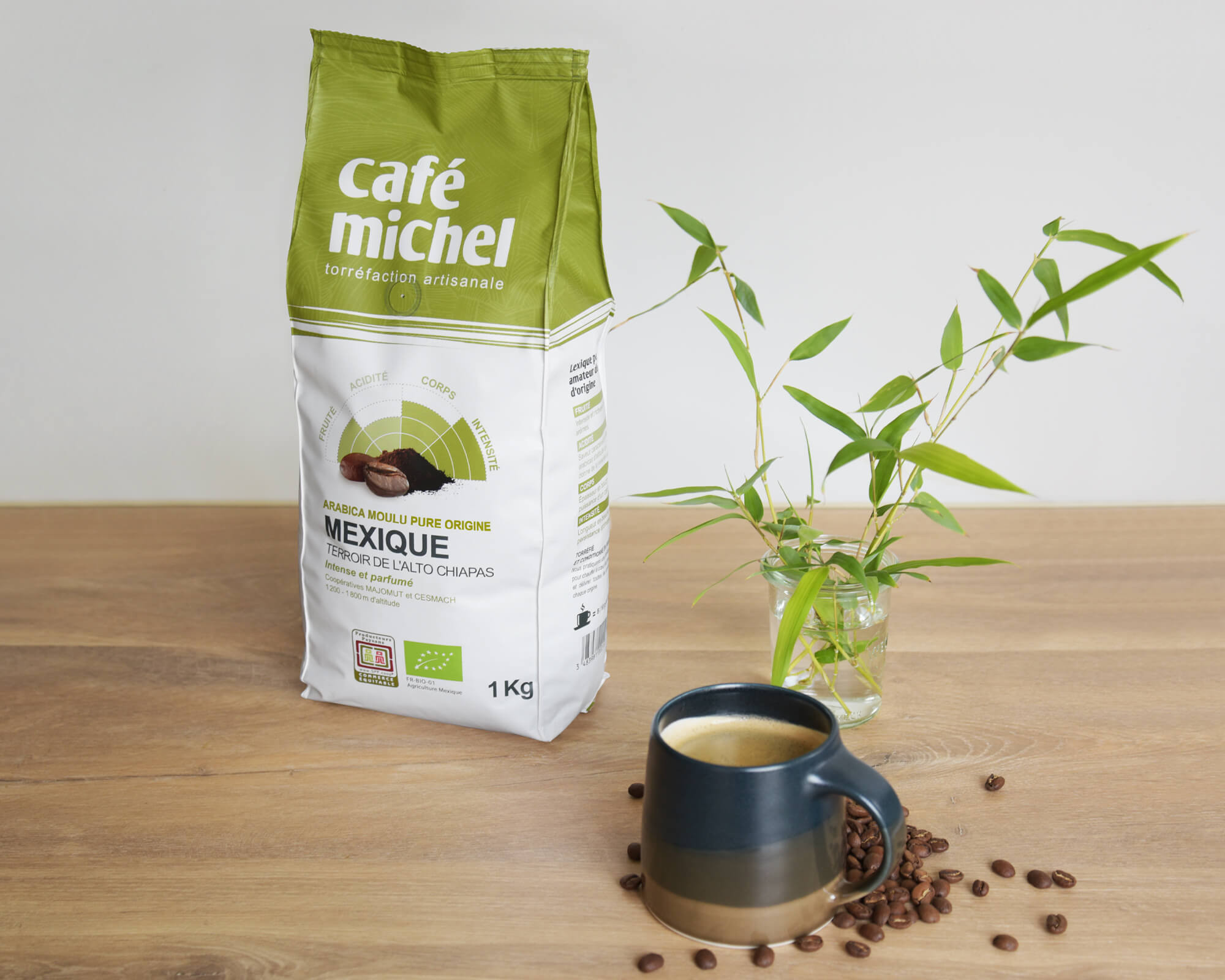 Pur arabica Mexique moulu biologique et équitable 1kg - Café Michel