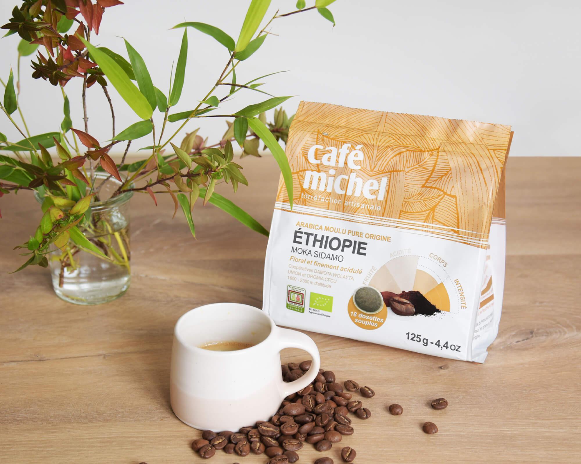 Dosettes souples d'arabica d'Éthiopie biologique et équitable - Café Michel