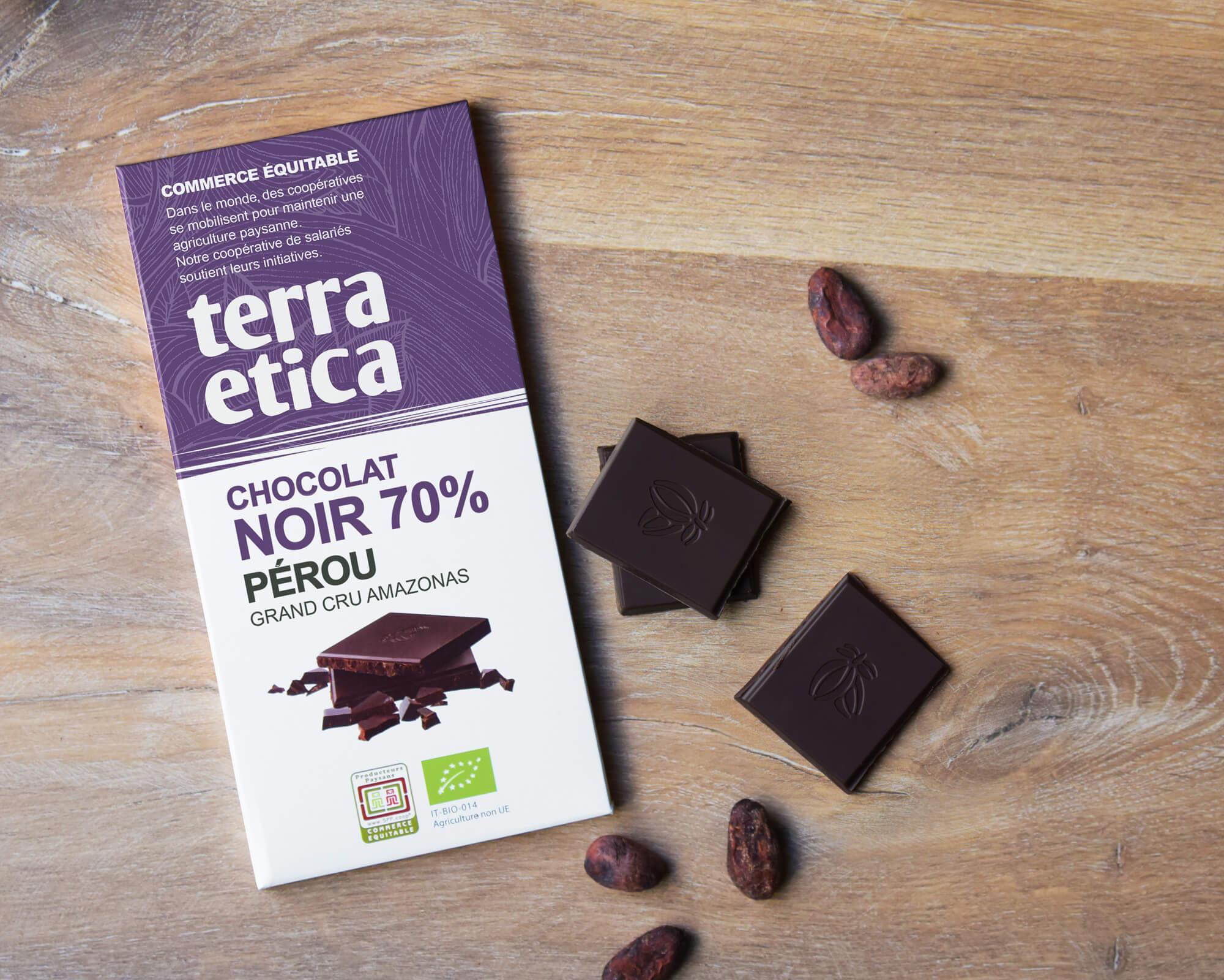 Chocolat Noir bio et équitable 70% cacao Pérou I Terra Etica