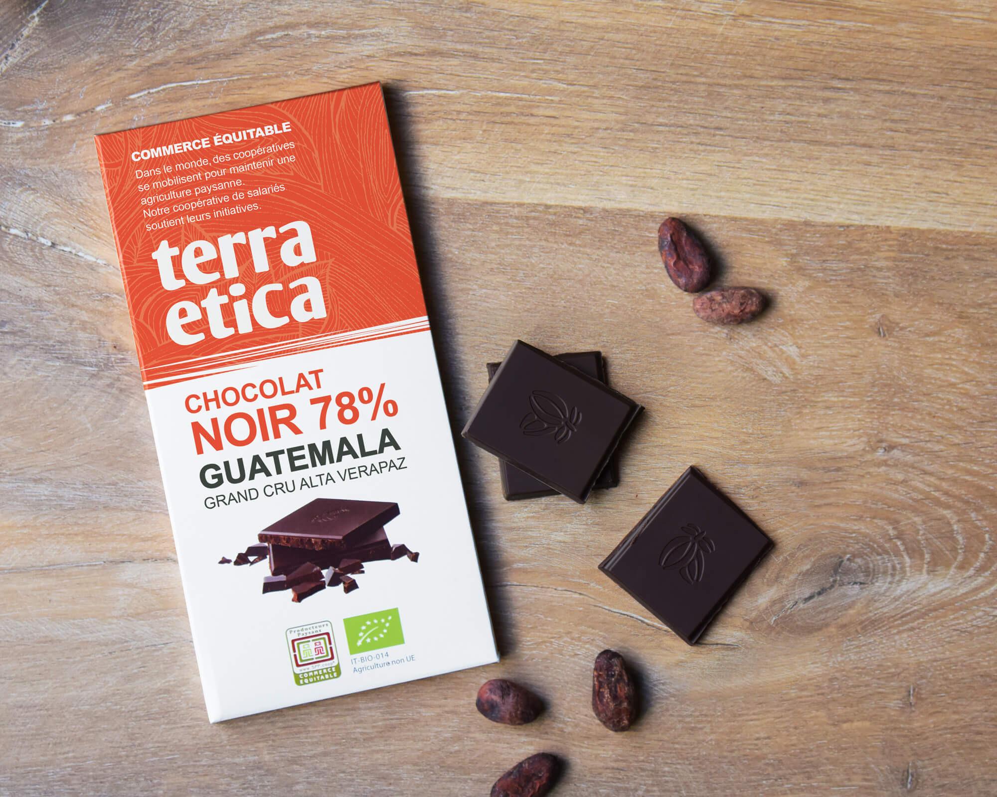Chocolat Noir bio et équitable 78% cacao du Guatemala I Terra Etica