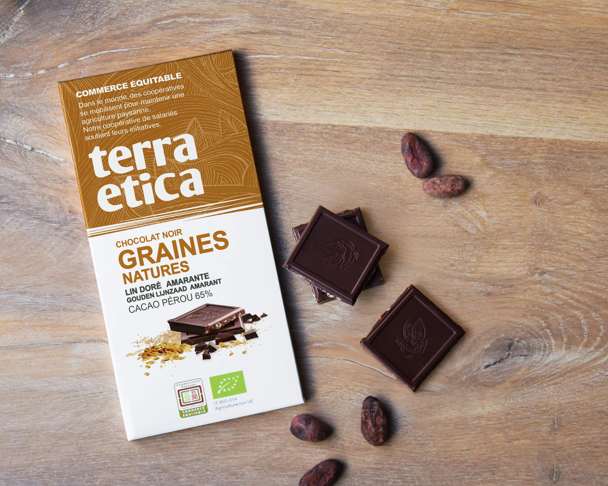 Chocolat noir graines natures bio et équitable 65% cacao I Terra Etica