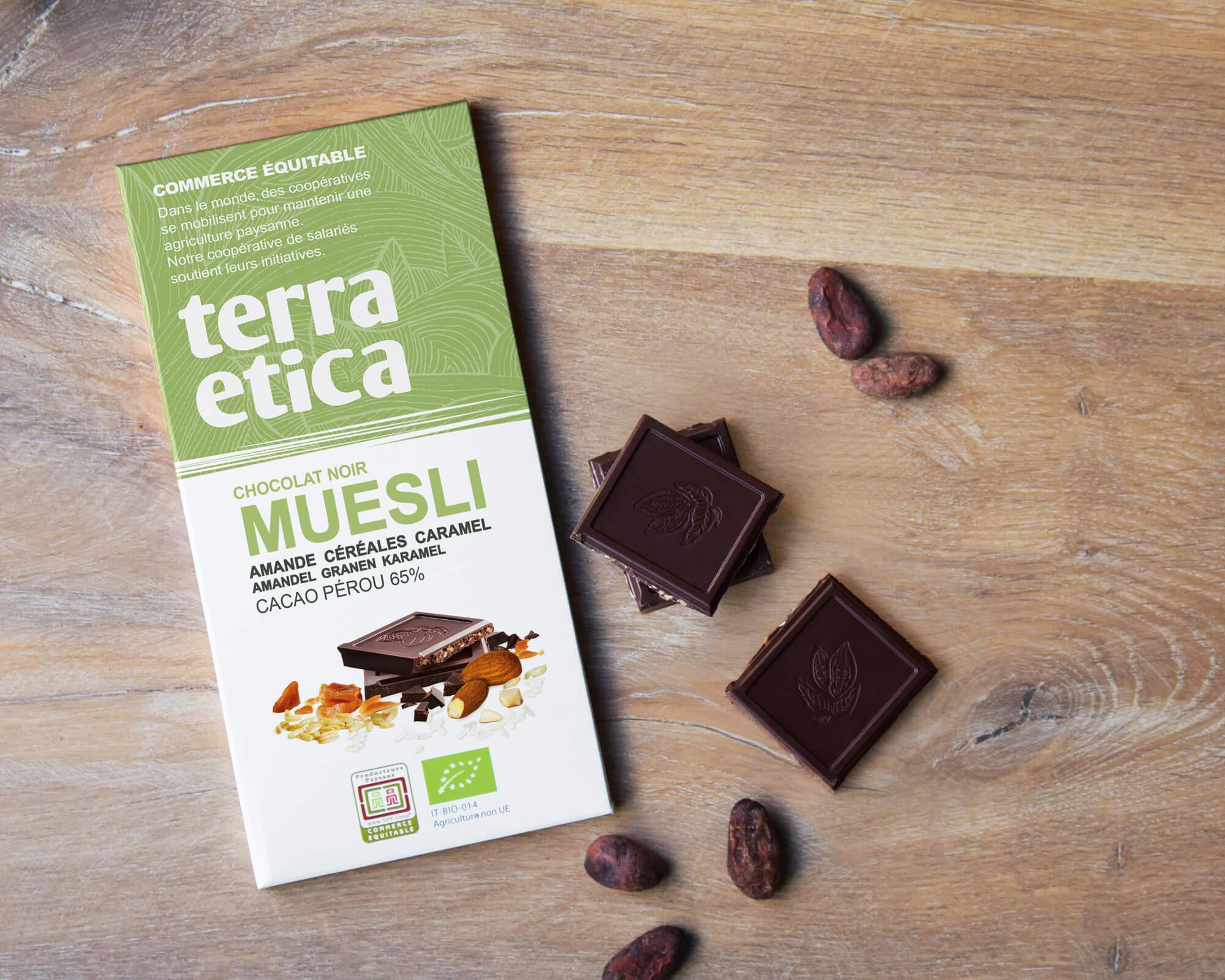 Chocolat noir au Muesli bio et équitable 65% cacao I Terra Etica