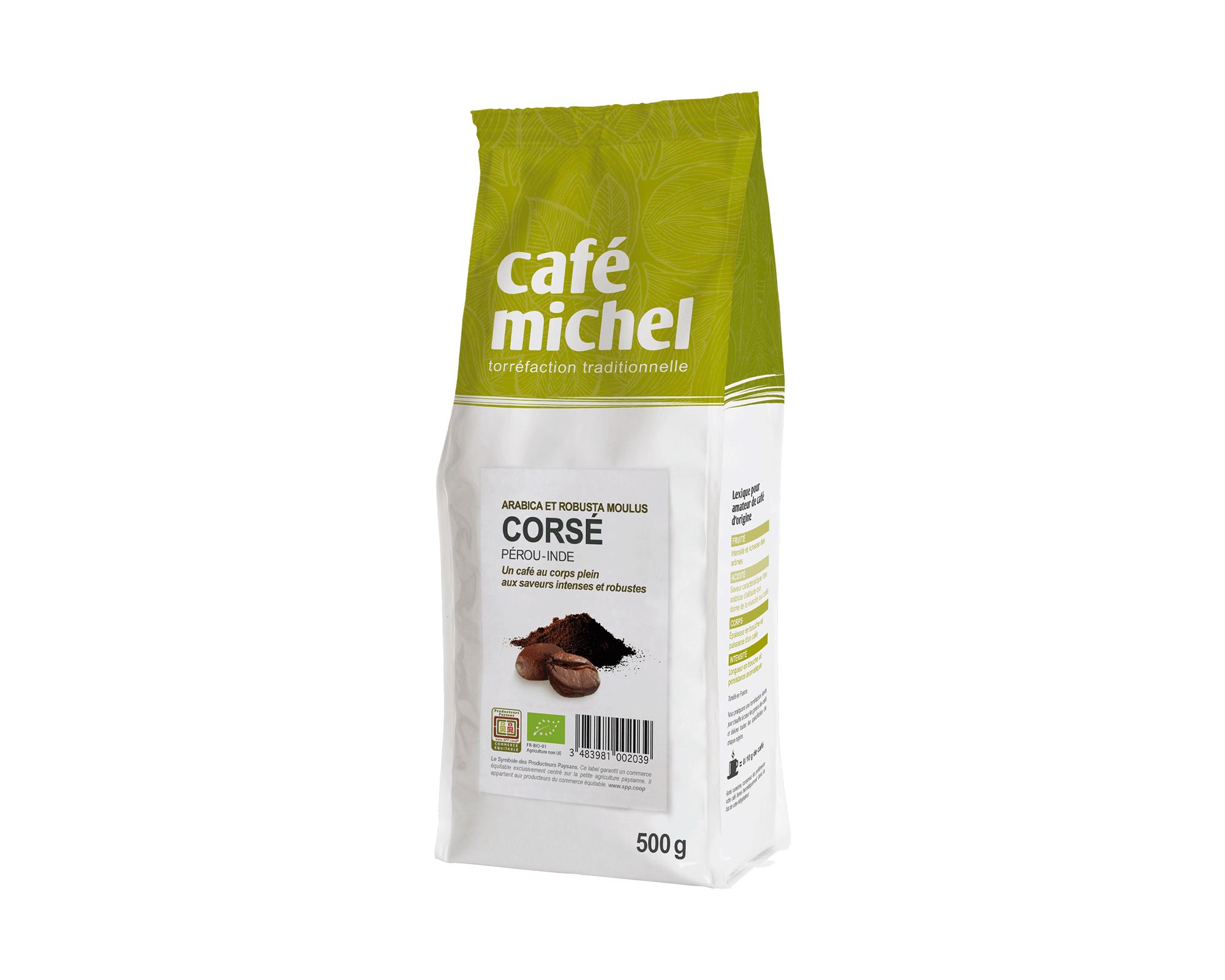 Mélange café Corsé Moulu biologique et équitable 500g I Café Michel