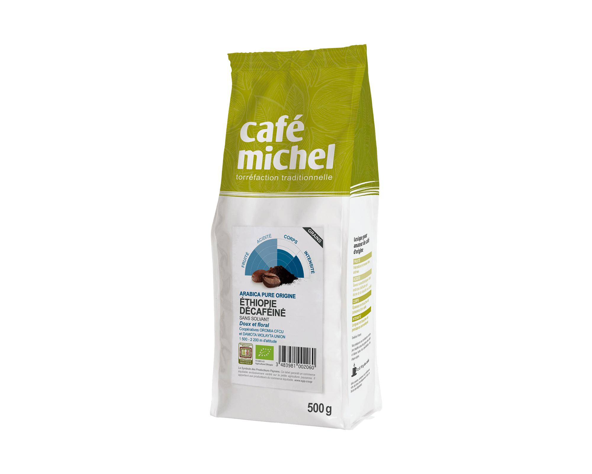 Arabica Décaféiné Éthiopie Grains biologique et équitable 500g I Café Michel