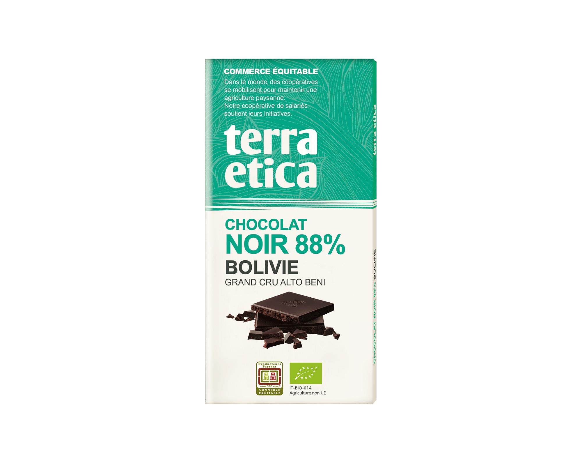 Chocolat Noir bio et équitable 88% Bolivie et Haïti I Terra Etica