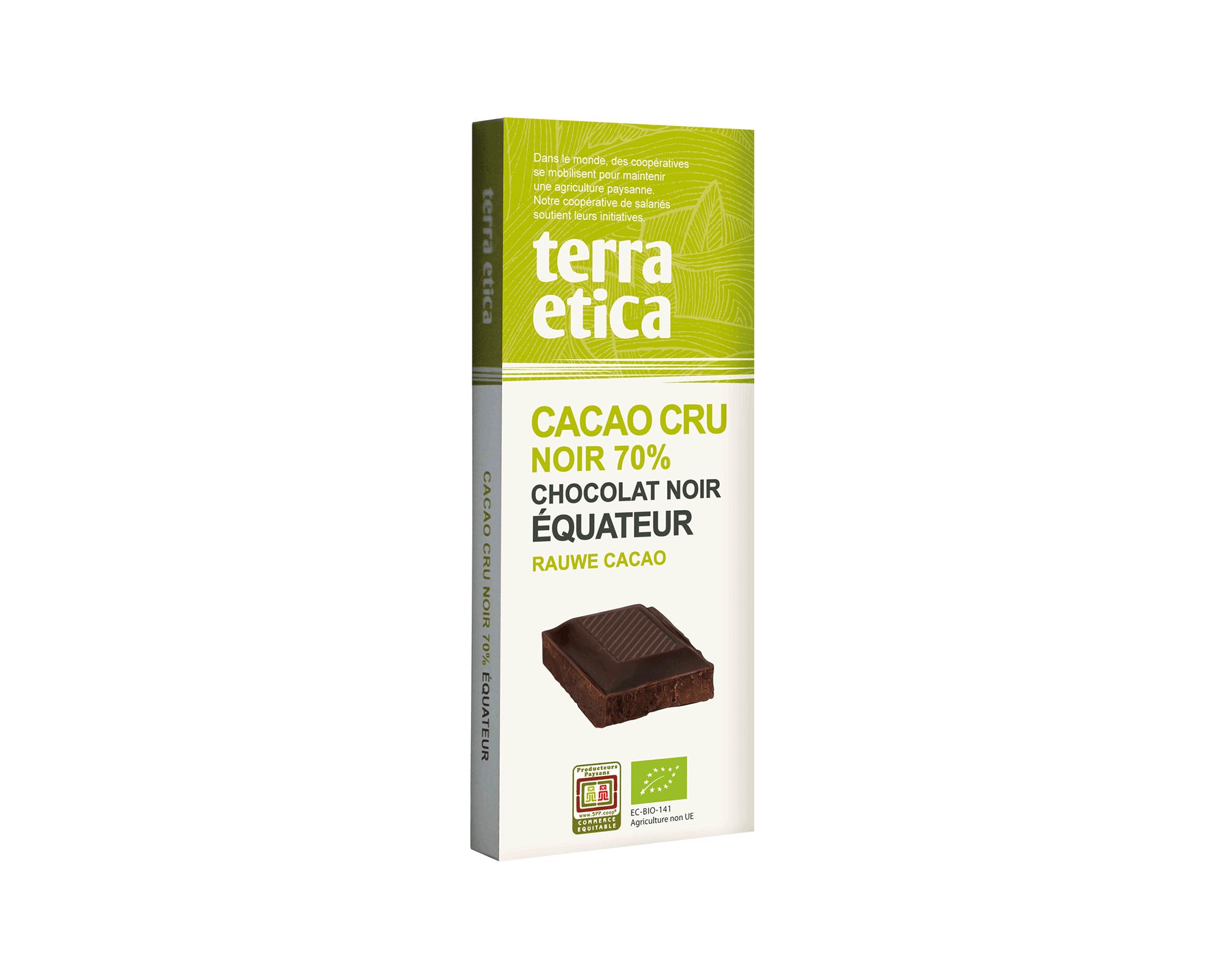 Cacao Cru 70% cacao non torréfié bio et équitable I Terra Etica