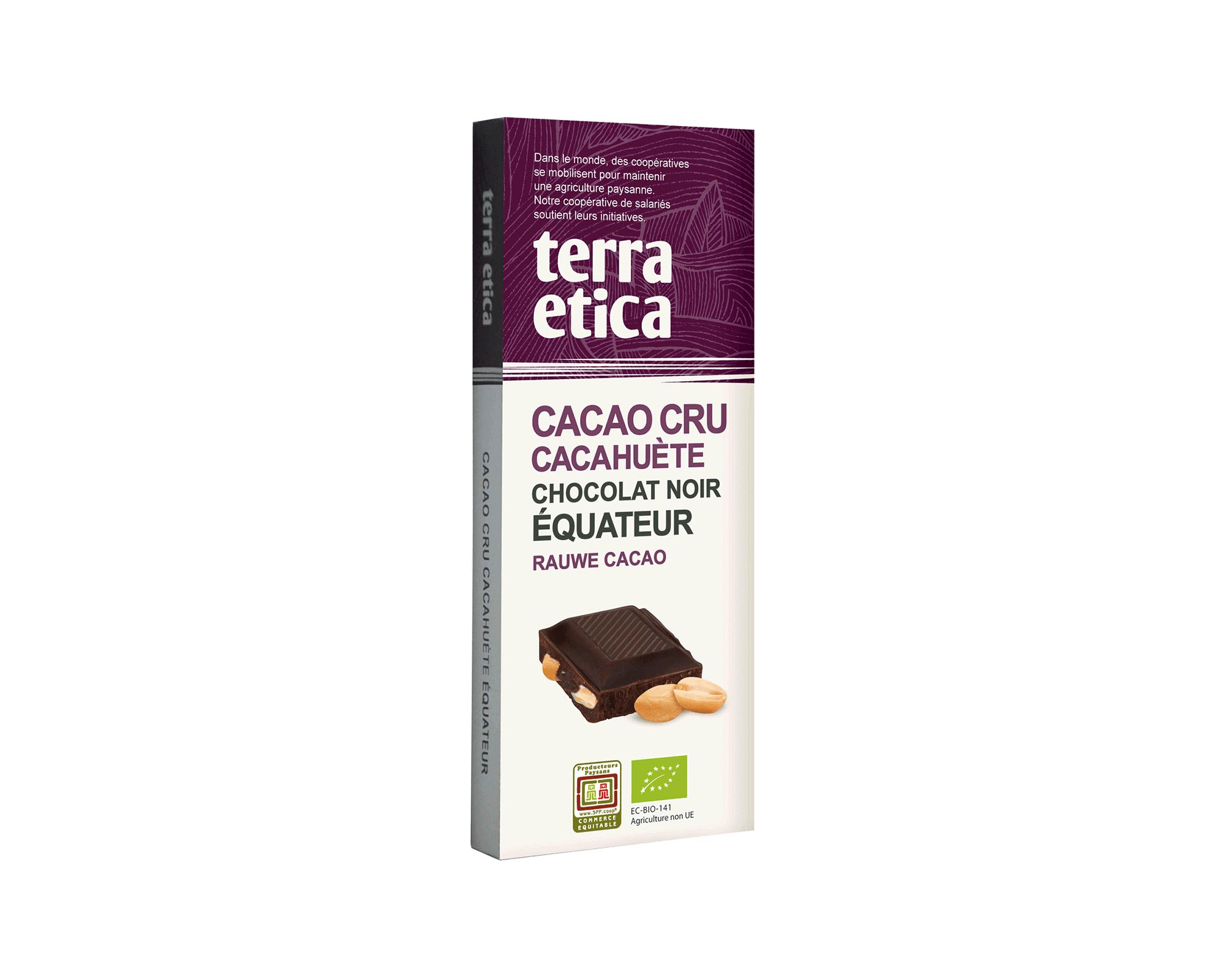 Cacao Cru 70% cacao non torréfié et Cacahuète bio et équitable I Terra Etica
